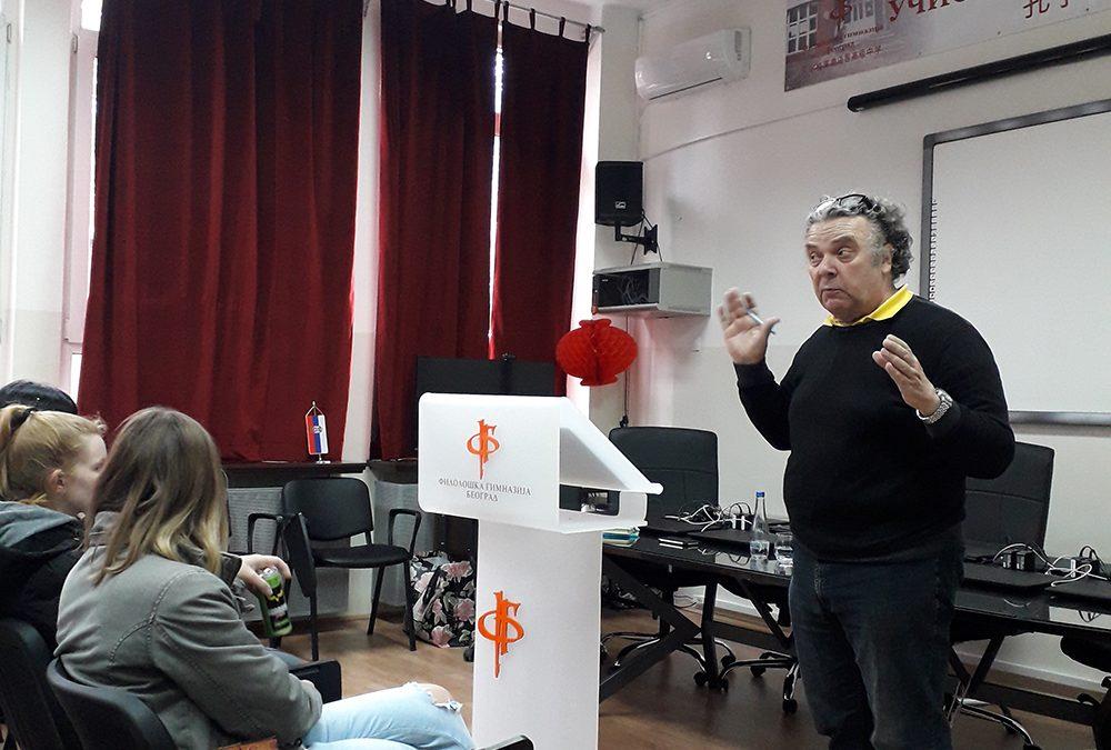 Глумац Пино Косталунга у посети Филолошкој гимназији